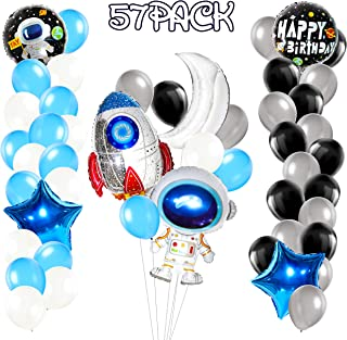 MALLMALL6 57Pcs Outer Space Balloons Birthday Party Decorations Supplies Universe Solar System Foil Balloon Jumbo Rocket Astronaut Planet Sliver Black Latex Balloons Party Favors Room Outdoor Decor
