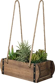 MyGift Rustic Burnt Wood Hanging Planter Pot with Rope and Metal Accent, Vintage Style Home Garden Decor, 15X6.5 Inch