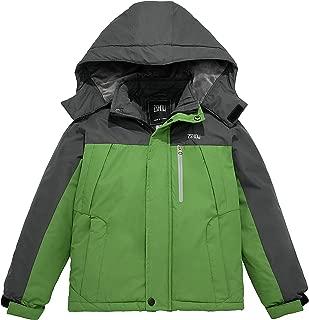 Boy's Waterproof Ski Jacket Windbproof Thick Winter Parka Coat with Detachable Hood