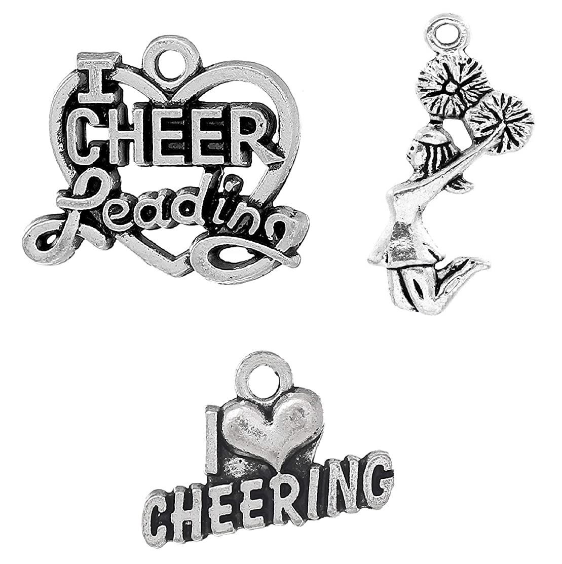 Cheerleading Charms, Cheer and School Spirit 95 Pieces Mix Lot - Love Cheering (Set 1)