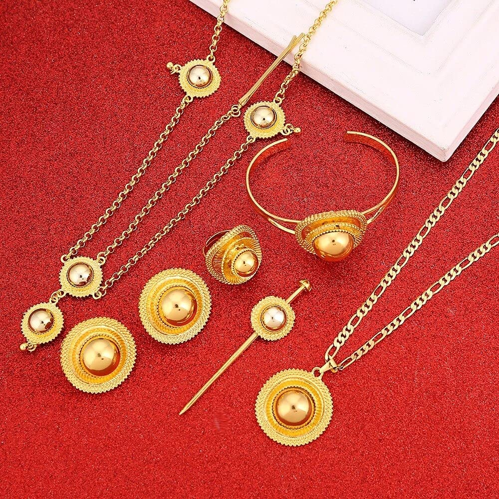 VUTRIEU2K Ethiopian Gold Color Luxury Jewelry Fashion Eritrean Traditional Wome Wedding Hair Jewelry Set