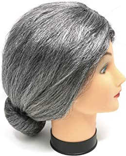 Skeleteen Old Lady Costume Wig - Silver Granny Bun Wig Costume Accessories - 1 Piece