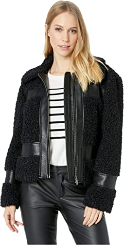 Zip Front Shearling Bomber Jacket