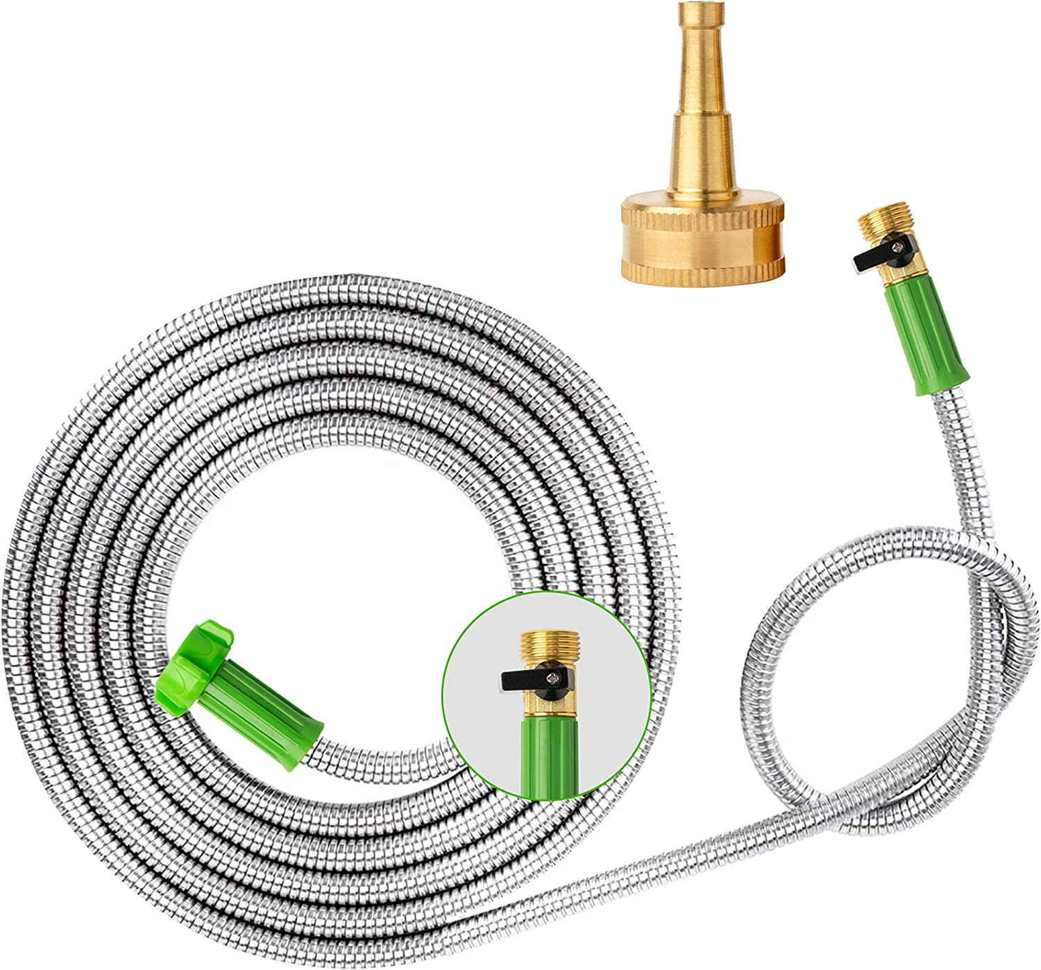 Yanwoo 304 Stainless Steel 6ft Garden Hose with Sprayer Nozzle and ON/OFF Valve, Lightweight, Kink-Free, Heavy Duty Outdoor Hose (6ft)
