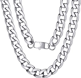 """ChainsPro Mens Sturdy Cuban Chain Necklace, 4/5/6/9/12/13/15 MM Width, 14"""" 18"""" 20"""" 22"""" 24"""" 26"""" 28"""" 30"""" Length, Hip-Hop Coo..."""