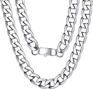 Men 4/6/9/13mm Cuban Link Chain,Hip Hop Jewelry,316L Stainless Steel/18K Gold Plated/Black-(with Gift Box)