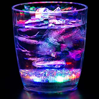 Liquid Activated Multicolor LED Lowball Glass ~ Fun Light Up Drinking Tumbler - 10 oz.