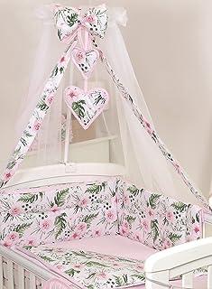 Pro Cosmo 10 Piezas Juego de Ropa de Cama para Cuna bebé/Edredón, Dosel, Protector (140x70cm, Pink Roses Flowers)