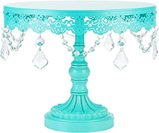 Amalfi Decor 10 Inch Cake Stand, Dessert Cupcake Pastry Candy Display Plate for Wedding Event Birthday Party, Round Metal Pedestal Holder with Crystals, Teal