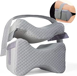 Knee Pillow w/ Strap - New 3-Level Contour Memory Foam Leg Separator & Side Sleeper Design, Large to Small Support & Hip Alignment for Lower Back, Joint, Nerve, Sciatica & Pregnancy Pain Relief