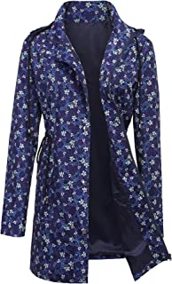 ZEGOLO Women's Raincoats Windbreaker Rain Jacket Waterproof Hooded Outdoor Trench Coats