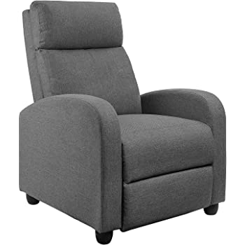JUMMICO Fabric Recliner Chair Adjustable Home Theater Single Massage Recliner Sofa Furniture with Thick Seat Cushion and Backrest Modern Living Room Recliners (Grey)
