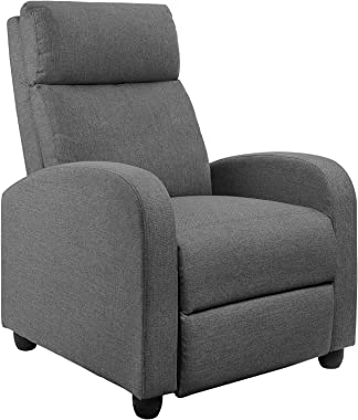 JUMMICO Fabric Recliner Chair Adjustable Home Theater Single Massage Recliner Sofa Furniture with Thick Seat Cushion and Back