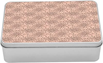 """Ambesonne Floral Tin Box, Beautifully Blooming Dahlias Close up Flowers Spring Time Nature, Portable Rectangle Metal Organizer Storage Box with Lid, 7.2"""" X 4.7"""" X 2.2"""", Peach Warm Taupe"""