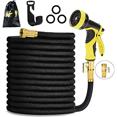 HmiL-U Garden Hose 50ft 15m Strongest Double Latex Inner Tube Prevent Leaking Magic Hosepipe with 9 Function Spray Gun+Solid Brass Fittings (Retracted Length 17ft)【2 YEARS 100% Guaranteed】(50ft)