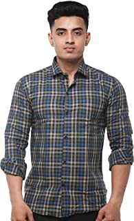 JPF Smart Men's Cotton Regular Fit Formal Shirt for Men Casual Full Sleeves Shirt for Men/Cotton Checkered Short Sleeve Shirts for Men Blue & Black Checked Shirts boy