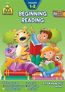 School Zone - Beginning Reading Workbook - 32 Pages, Ages 6 to 8, 1st Grade, 2nd Grade, Beginning and Ending Sounds, Rhymi...