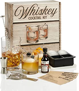 Whiskey Cocktail Kit: Rocks Drinking Glass Set   750ml Crystal Mixing Glass   Ice Cube Mold   Stainless Bar Spoon Stirrer ...