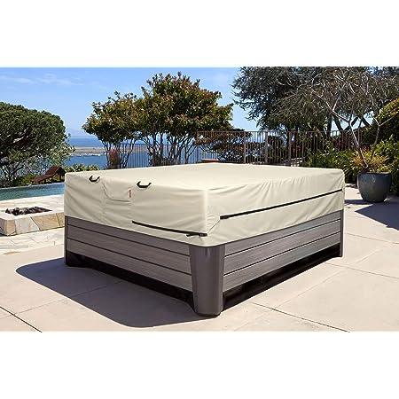 Gray LOVIVER Square SPA Bathtub Waterproof Dust Cover Protector Lightweight UV Resistant 207x207x30cm