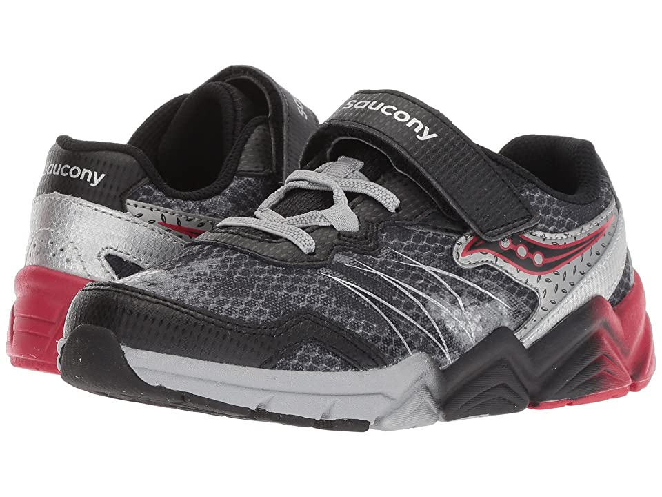 Saucony Kids Flash A/C (Little Kid) (Black/Grey/Red) Boys Shoes