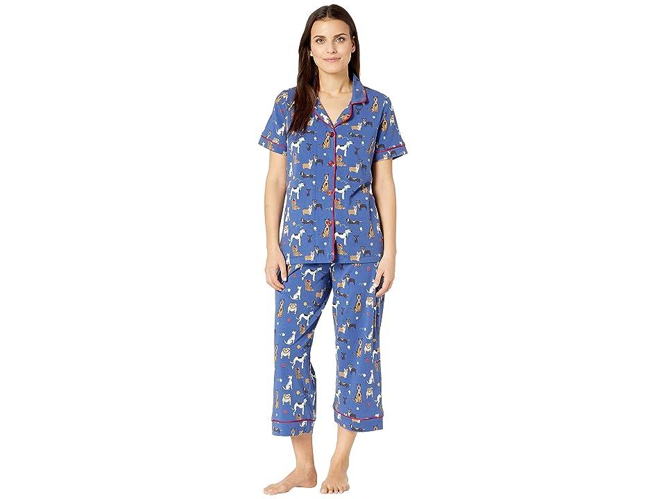BedHead Pajamas Short Sleeve Cropped Pajama Set (Dog Park) Women