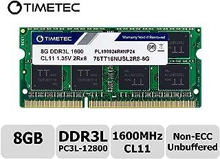 Timetec Hynix IC 8GB DDR3L 1600MHz PC3-12800 Unbuffered Non-ECC 1.35V CL11 1Rx8 Single Rank 204 Pin SODIMM Portatil Memoria Principal Module Upgrade (8GB)