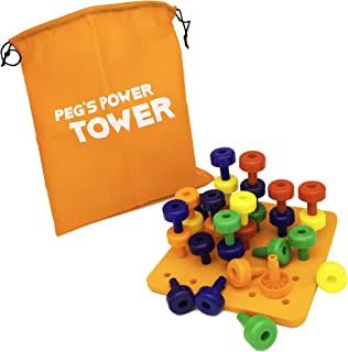 Peg's Power Tower Stacking Toy by Little Roos | Educational Peg Board Toy for Kids to Learn fine Motor Skills, with 30 peg...