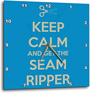 3dRose dpp_172003_1 Keep Calm and Get The Seam Ripper. Blue and White-Wall Clock, 10 by 10-Inch