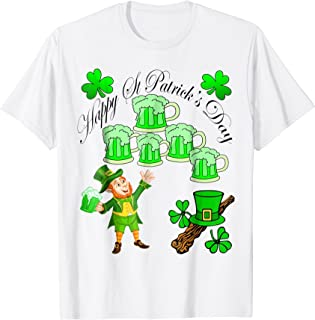 St. Patrick's Day Leprechaun with Green Beers T-Shirt