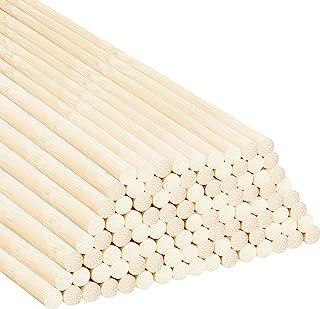 Belle Vous Natuurlijk Ronde Bamboe Deuvel Staven (100 Pak) – 30 cm – Extra Lang Onbewerkte 7 mm Houten Hobby Stokken – Ste...