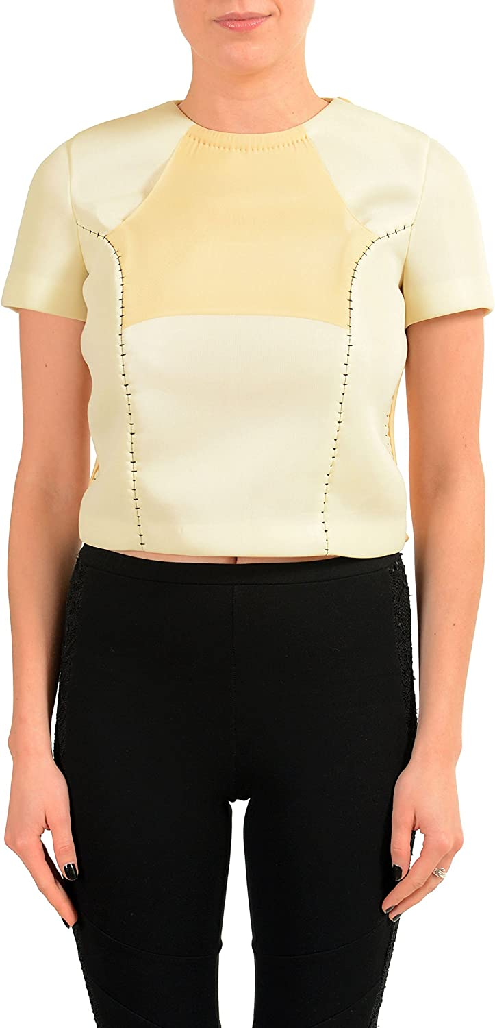 MAISON MARGIELA Women's Beige Patched Cropped Top