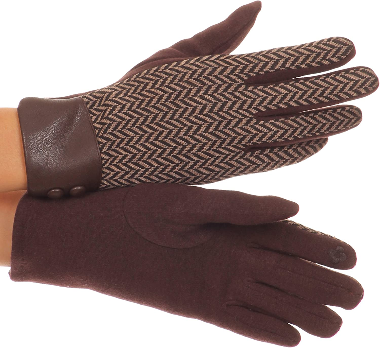 Sakkas Bronywn Warm Winter Wrist Length Chevron Pattern Touch Screen Gloves