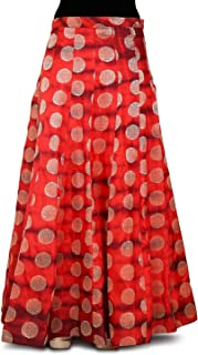 Utsav Fashion Woven Banarasi Silk Skirt in Shaded Red