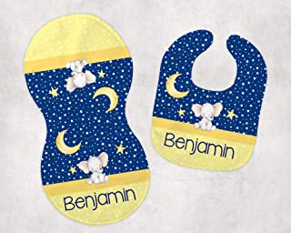 Baby Boy's Elephant Moon and Stars Bib and Burp Cloth