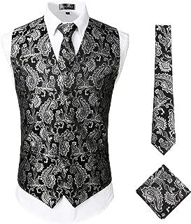 ZEROYAA Mens Classic 3pc Jacquard Paisley Vest Set Necktie Pocket Square Waistcoat for Suit or Tuxedo