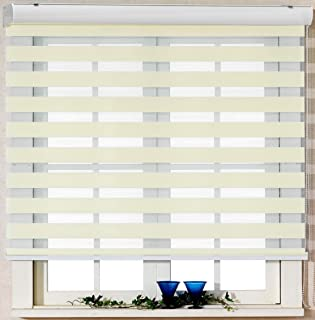 Custom Cut to Size , [Winsharp Basic , ivory , W 59 x H 95 (Inch)] Horizontal Window Shade Blind Zebra Dual Roller Blinds & Treatments , Maximum 91 Inch Wide by 103 Inch Long