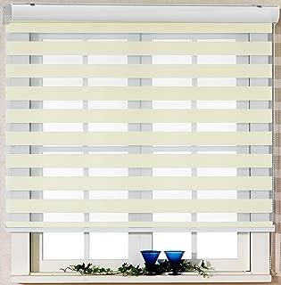 Custom Cut to Size , [Winsharp Basic , ivory , W 59 x H 95 (Inch)] Horizontal Window Shade Blind Zebra Dual Roller Blinds & Treatments , Maximum 91 Inch Wide by 103 Inch Long