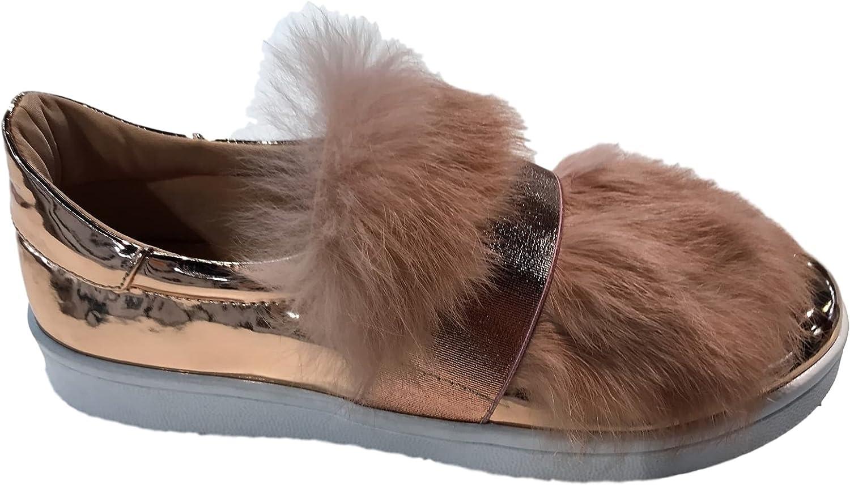 C & C Celine-4 Women Fur Slip On Fashion Sneaker Metallic Mirror pink gold