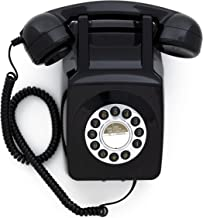 GPO 746 Wall-Mounted Push-Button Retro Landline Phone - Curly Cord, Authentic Bell Ring - Black photo