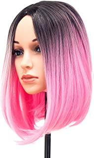SWACC Ombre Colors Straight Short Hair Bob Wig Synthetic Colorful Cosplay Daily Party Flapper Wig for Women and Kids with Wig Cap (Pink)