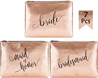 Crisky Champagne Bridesmaid Makeup Bags for Bridal Shower, Bachelorette, Wedding Shower Cosmetic Bags for Bridesmaid Gift Makeup Pouch, Set of 7 (1 Bride & 1 MOH & 5 Bridesmaid), 8 x 10 Inch, PU