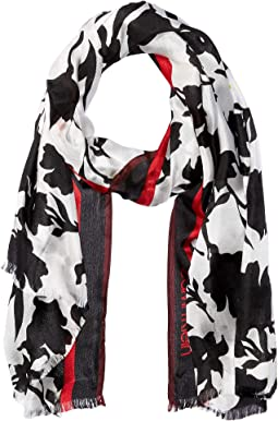 Graphic Floral Border Scarf