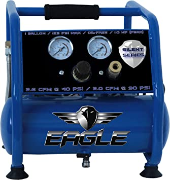 Eagle EA-3000 Silent Series 3000 Air Compressor 125 MAX psi Hot Dog with panel, Blue, 1 gallon: image