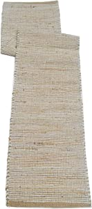 "Chardin home Eco-Friendly Natural Jute/Cotton Table Runner, Size: 13""x72"". Jute/Aqua Turquoise (Natural Dyed Ivory, 13''x72'')"