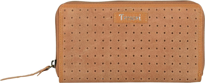 Tresori Women's Real Leather RFID Data Predected Zip Around Large Suede Wallet