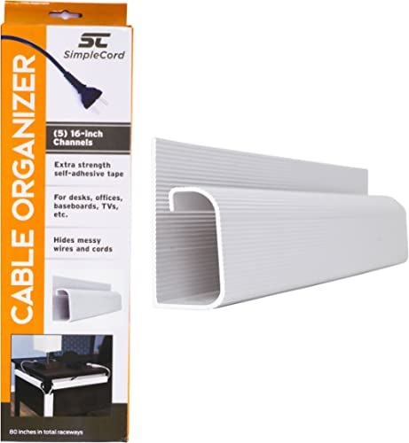 J Channel Desk Cable Organizer by SimpleCord – 5 White Raceway Channels - Cord Cover Management Kit for Desks, Office...