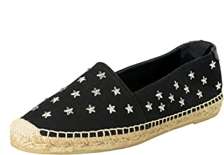 Women's Star Studded Canvas Leather Loafers Shoes US 10 IT 40 Black