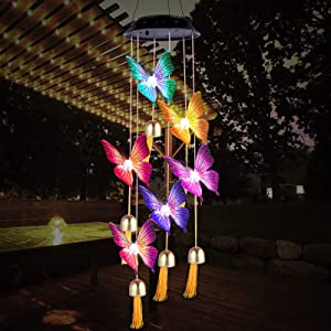 AIBELE Wind Chimes Birthday Gifts for Women - Butterfly Wind Chimes for Outside Waterproof Changing Colors, Gift for Mom Grandma Daughter,Yard Garden Decor Solar Hanging Lights
