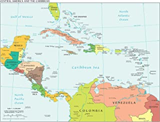 VintPrint Map Poster - Central America and The Caribbean 18.5