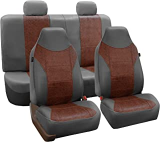 FH Group FH-PU160114 PU Classic Leather Seat Covers Brown/Gray, Airbag Compatible and Split Bench-Fit Most Car, Truck, SUV, or Van